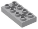 LEGO® Stein: Duplo Plate 2 x 4 with 2 Holes with Locking Ridges (10661) | Farbe: Medium Stone Grey