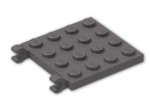 LEGO® Brick: Plate 4 x 4 with 2 Clips Horizontal (Open C-Clips) (11399) | Color: Dark Stone Grey