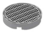 LEGO® Stein: Tile 2 x 2 Round with Round Underside Stud with Black and Dark B (14769p06) | Farbe: Medium Stone Grey