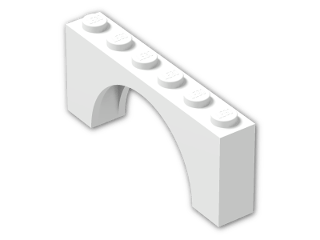 LEGO® Stein: Arch 1 x 6 x 2 with Thin Top (15254) | Farbe: White