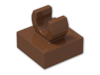 LEGO® Brick: Tile 1 x 1 with Clip (Thick C-Clip) (15712) | Color: Reddish Brown