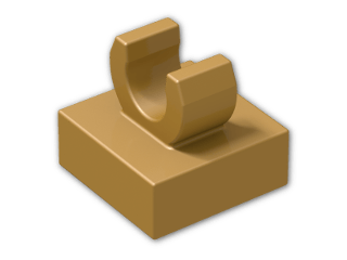 LEGO® Brick: Tile 1 x 1 with Clip (Thick C-Clip) (15712) | Color: Warm Gold