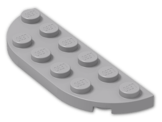 LEGO® Stein: Plate 2 x 6 with Two Rounded Corners (18980) | Farbe: Medium Stone Grey