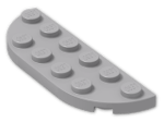 LEGO® Brick: Plate 2 x 6 with Two Rounded Corners (18980) | Color: Medium Stone Grey