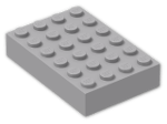 LEGO® Brick: Brick 4 x 6 (2356) | Color: Medium Stone Grey