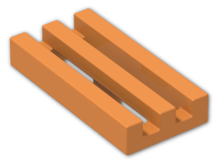 LEGO® Brick: Tile 1 x 2 Grille with Groove (2412b) | Color: Bright Orange