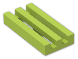 LEGO® Brick: Tile 1 x 2 Grille with Groove (2412b) | Color: Bright Yellowish Green