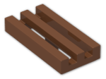 LEGO® Brick: Tile 1 x 2 Grille with Groove (2412b) | Color: Reddish Brown