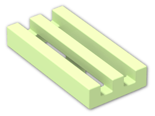 LEGO® Brick: Tile 1 x 2 Grille with Groove (2412b) | Color: Phosphorescent Green