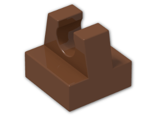 LEGO® Brick: Tile 1 x 1 with Clip (2555) | Color: Reddish Brown