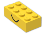 LEGO® Brick: Brick 2 x 4 with Happy and Sad Face Pattern (3001pe1) | Color: Bright Yellow