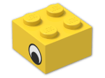 LEGO® Brick: Brick 2 x 2 with Black and White Eye Pattern on Both Sides (3003pe2) | Color: Bright Yellow