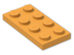 LEGO® Brick: Plate 2 x 4 (3020) | Color: Bright Yellowish Orange