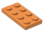 LEGO® Brick: Plate 2 x 4 (3020) | Color: Bright Orange