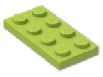 LEGO® Brick: Plate 2 x 4 (3020) | Color: Bright Yellowish Green
