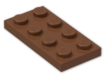 LEGO® Brick: Plate 2 x 4 (3020) | Color: Reddish Brown