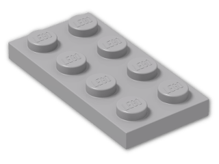 LEGO® Brick: Plate 2 x 4 (3020) | Color: Medium Stone Grey