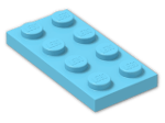 LEGO® Brick: Plate 2 x 4 (3020) | Color: Medium Azur