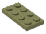 LEGO® Brick: Plate 2 x 4 (3020) | Color: Olive Green