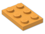 LEGO® Brick: Plate 2 x 3 (3021) | Color: Bright Yellowish Orange