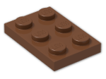 LEGO® Brick: Plate 2 x 3 (3021) | Color: Reddish Brown