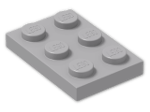 LEGO® Brick: Plate 2 x 3 (3021) | Color: Medium Stone Grey