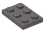 LEGO® Brick: Plate 2 x 3 (3021) | Color: Dark Stone Grey