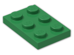LEGO® Brick: Plate 2 x 3 (3021) | Color: Dark Green