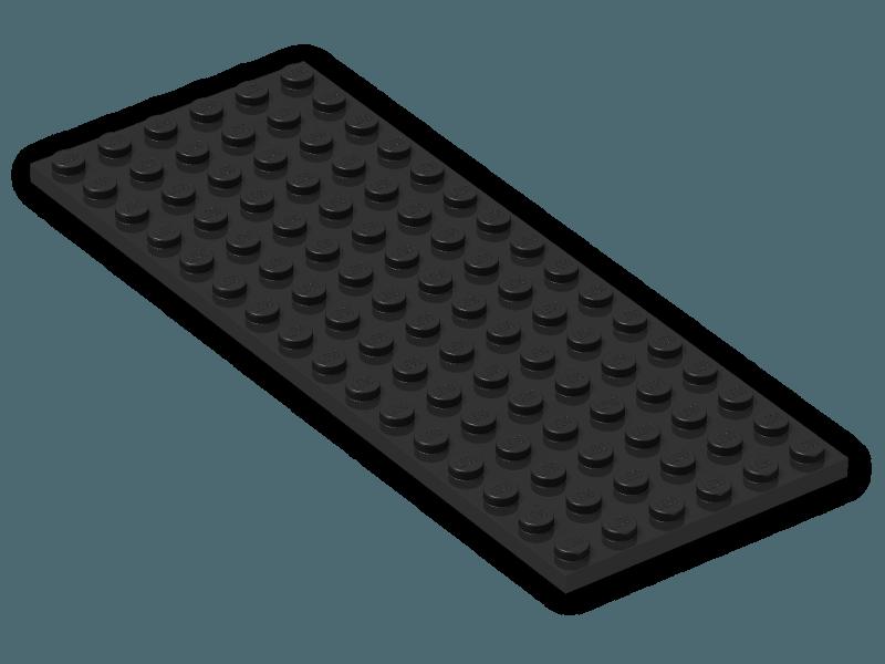3 NEW LEGO Plate 6 x 16 Black