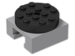 LEGO® Brick: Turntable 4 x 4 x 2 Locking with Grooved Base and Black Top (30516c02) | Color: Medium Stone Grey