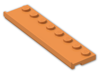 LEGO® Brick: Plate 2 x 8 with Door Rail (30586) | Color: Bright Orange