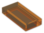 LEGO® Brick: Tile 1 x 2 with Groove (3069b) | Color: Transparent Bright Orange