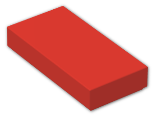 LEGO® Brick: Tile 1 x 2 with Groove (3069b) | Color: Bright Red