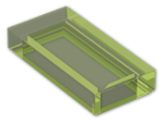 LEGO® Brick: Tile 1 x 2 with Groove (3069b) | Color: Transparent Bright Green