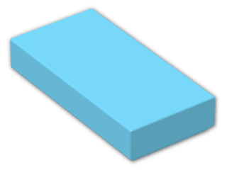 LEGO® Brick: Tile 1 x 2 with Groove (3069b) | Color: Medium Azur