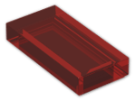 LEGO® Brick: Tile 1 x 2 with Groove (3069b) | Color: Transparent Red