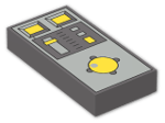 LEGO® Brick: Tile 1 x 2 with Yellow Buttons and Knob Controls Pattern (3069bpc1) | Color: Dark Stone Grey