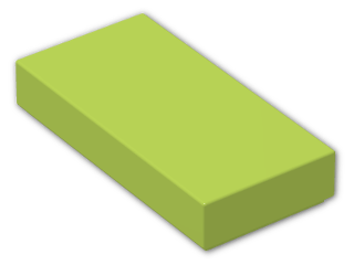 LEGO® Brick: Tile 1 x 2 with Groove (3069b) | Color: Bright Yellowish Green