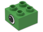 LEGO® Brick: Duplo Brick 2 x 2 with Eye Pattern on Two Sides (3437pe1) | Color: Bright Green