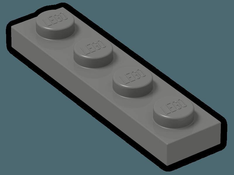 LEGO Parts~ 10 LIGHT BLUISH GRAY 3710 1x4 Plate 3710