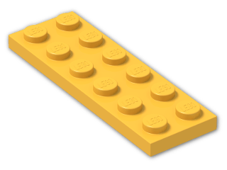 LEGO® Brick: Plate 2 x 6 (3795) | Color: Flame Yellowish Orange