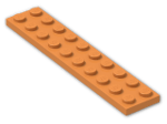 LEGO® Brick: Plate 2 x 10 (3832) | Color: Bright Orange