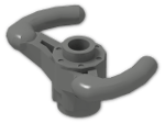 LEGO® Stein: Technic Steering Wheel Yoke with Reduced Axle Hole and Open Stud (40001) | Farbe: Dark Grey