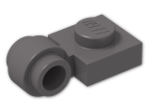 LEGO® Brick: Plate 1 x 1 with Clip Light Type 2 (4081b) | Color: Dark Stone Grey
