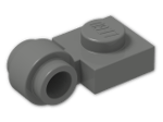 LEGO® Brick: Plate 1 x 1 with Clip Light Type 2 (4081b) | Color: Dark Grey