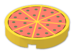 LEGO® Brick: Tile 2 x 2 Round with Pizza Pattern (4150p02) | Color: Bright Yellow