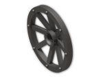 LEGO® Brick: Wheel 2.8 x 34 with 8 Spokes with Notched Hole for Wheel Holding (4489b) | Color: Metallic Dark Grey