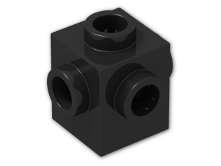 LEGO® Brick: Brick 1 x 1 with Studs on Four Sides (4733) | Color: Black