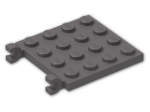 LEGO® Brick: Plate 4 x 4 with 2 Clips Horizontal (47998) | Color: Dark Stone Grey