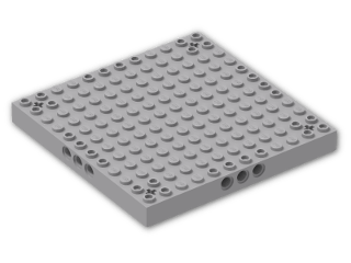 LEGO® Brick: Brick 12 x 12 with 3 Pin Holes on Sides & Axle Holes in Corners (52040) | Color: Medium Stone Grey